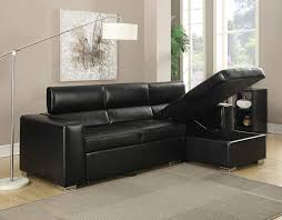 Pull Out Sectional Sofa Contemporary Black Bonded Leather Match Sectional Sofa Chaise