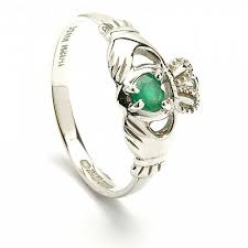 claddagh engagement ring claddagh engagement ring with emerald heart 14k white gold