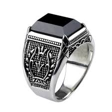 natural stone rings images Vintage pure 925 sterling silver black obsidian natural stone jpg