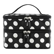 makeup travel bag images Bonamart double layer cosmetic bag black with white jpg