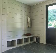 Built In Bench Mudroom Modern Gray Mudroom Features Tongue And Groove Walls Painted Gray