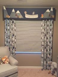custom baby boy nursery valance roman shade and side curtains by
