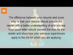 Difference Between Application Letter And Resume What Is The Difference Between A Resume And A Cover Letter Youtube