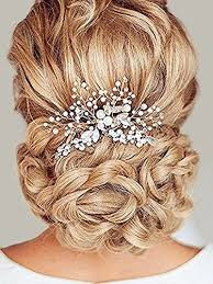 bridesmaid hair accessories bridal comb with pearl and rhinestones for wedding silver