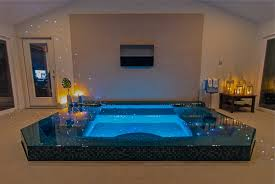 swimming pool indoor swimming pool design with blue led light and