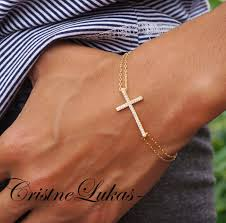 silver cross bracelet charm images Celebrity style small sideways cross bracelet with cz stones jpg