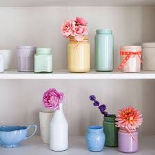 Flower Vase Painting Ideas How To Make Chalky Pastel Jam Jar Vases Pastels Shelving And
