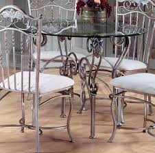 interior gorgeous glass round top dining table with iron french