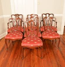 set of seven drexel cherry french provincial dining room chairs ebth