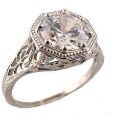 moissanite vintage engagement rings 14k white gold antique style filigree 1 63ct moissanite ring