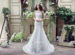 cheap beautiful mermaid scoop sweep train lace wedding dress the