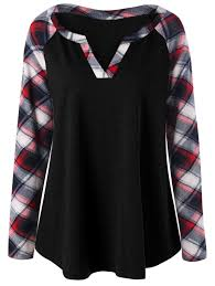 plus size raglan sleeve plaid top in black 3xl sammydress com