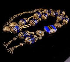 blue glass necklace vintage images Antiques art vintage jpg