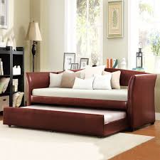 bedroom design red leather daybed with pop up trundle with white