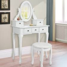 Make Up Tables White Vanity Table Set Jewelry Armoire Makeup Desk Bench Drawer
