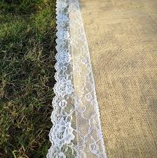 Burlap Wedding Aisle Runner Sale Wedding Burlap Aisle Runner With Scalloped Ivory French Lace