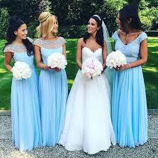 blue bridesmaid dresses stylish bateau floor length blue bridesmaid dress with pearls