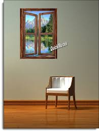 mountain cabin window wall mural why not create your own indoor paradise with your choice of our beautiful wall murals they re the perfect solution to the room with no view