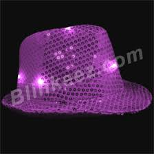purple led lightup fedora hats with white leds blinkeez