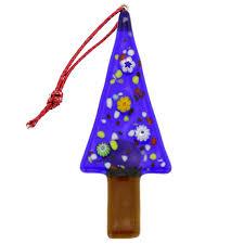 tree ornaments murano glass tree blue