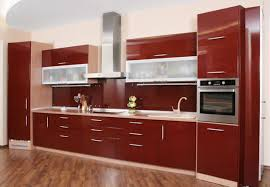 kitchen room design white wall paint brown wooden oak cabinet on