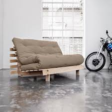 futon canapé canapé convertible style scandinave roots futon taupe couchage 140