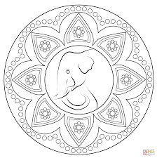 indian rangoli with elephant coloring page free printable