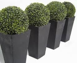 Topiaries Plants - petite artificial buxus topiary ball black granite granite and