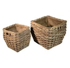 Square Laundry Hamper by Set Of 2 Square Grey Lined Log Storage Baskets Roudham Trading