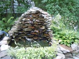 Small Backyard Ponds And Waterfalls by Slate Wall Waterfall Into A Small Garden Pond Garden Waterfalls