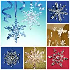 new for 2016 six plain bright white miniature snowflakes