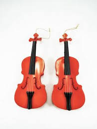vintage violin ornaments set of 4 miniature wood violin wood