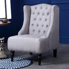 belleze modern wingback tufted nailhead accent chair tall back