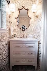 Narrow Powder Room - tiny powder room wallpaper transitional bathroom