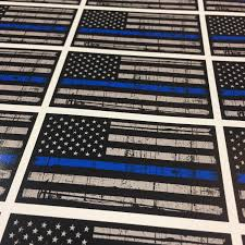 thin blue line american flag sticker distressed american