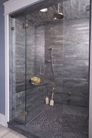 How To Tile A Bathroom Shower Floor Contemporary Shower Boasts A Gray Subway Tiled Ceiling And Walls