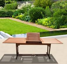 vifah v232 outdoor wood rectangular extension table with foldable