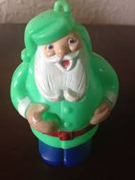 wow vintage green plastic santa tree ornament 3 5