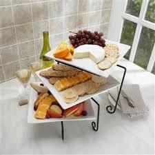 new 3 tier buffet server 3 stoneware serving platter trays metal