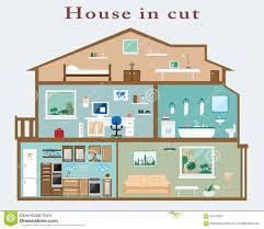 rooms in the house house cut detailed flat style interior set rooms furniture
