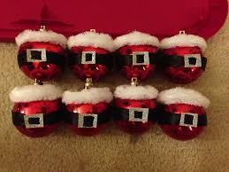 santa ornaments plain red dollar store ornaments black ribbon