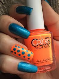 color club neon orange nail polish water nail polish design