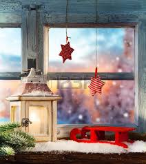 atmospheric christmas window sill decoration with home cozy