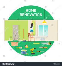 Wallpapers In Home Interiors Room Repair Home Interior Renovation Apartment Stock Vector