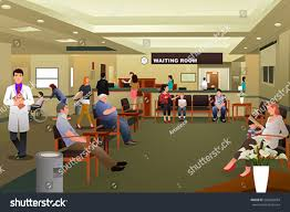 vector illustration patients waiting hospital waiting stock vector