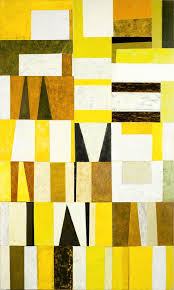 yellow brown painted paper collage art metro art series in westchester county