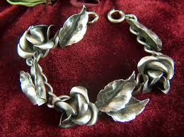 sterling silver rose bracelet images Vintage 1940s sterling silver roses and leaves bracelet from jpg