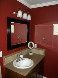 Bathroom With Beige Tiles What Color Walls Red Bathroom Dark Red Walls Dark Wood Trimmed Mirror Beige Tile