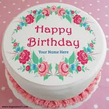 birthday flower cake happy birthday flower cake with name image wishes greeting card