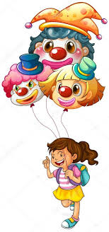 clown graphics 89 clown graphics backgrounds a happy girl holding clown balloons stock vector interactimages